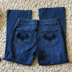 White House Black Market stretch flare leg jeans